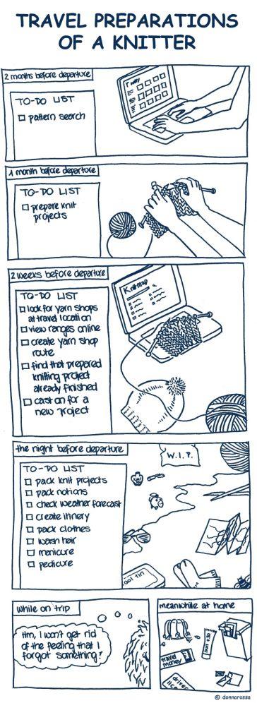 knit cartoon comic travel preparations