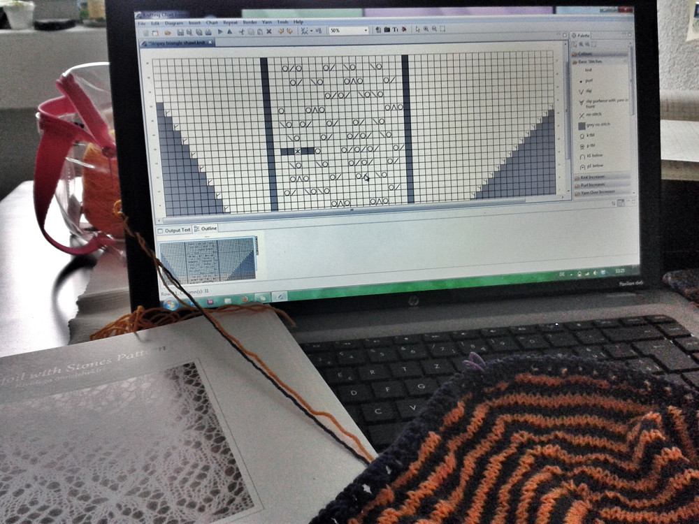 Aug 8 - designing the lace part for my stripey triangle shawl. perfect work for a rainy day.