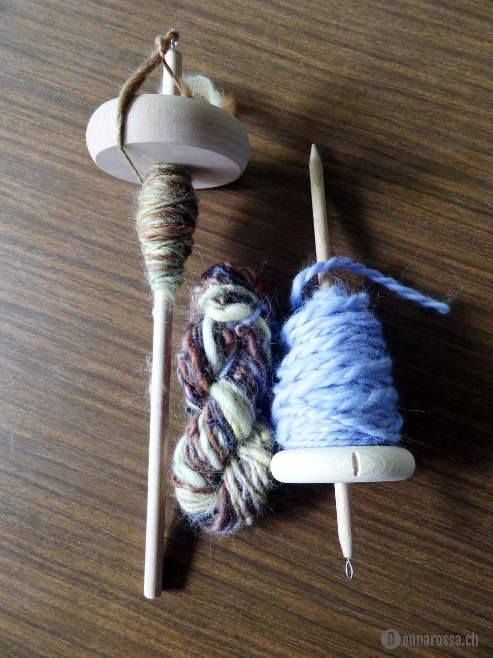 Stitching Retreat 2014 - hand spinning progress after two days