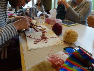 Stitching Retreat 2014 - knitter at work