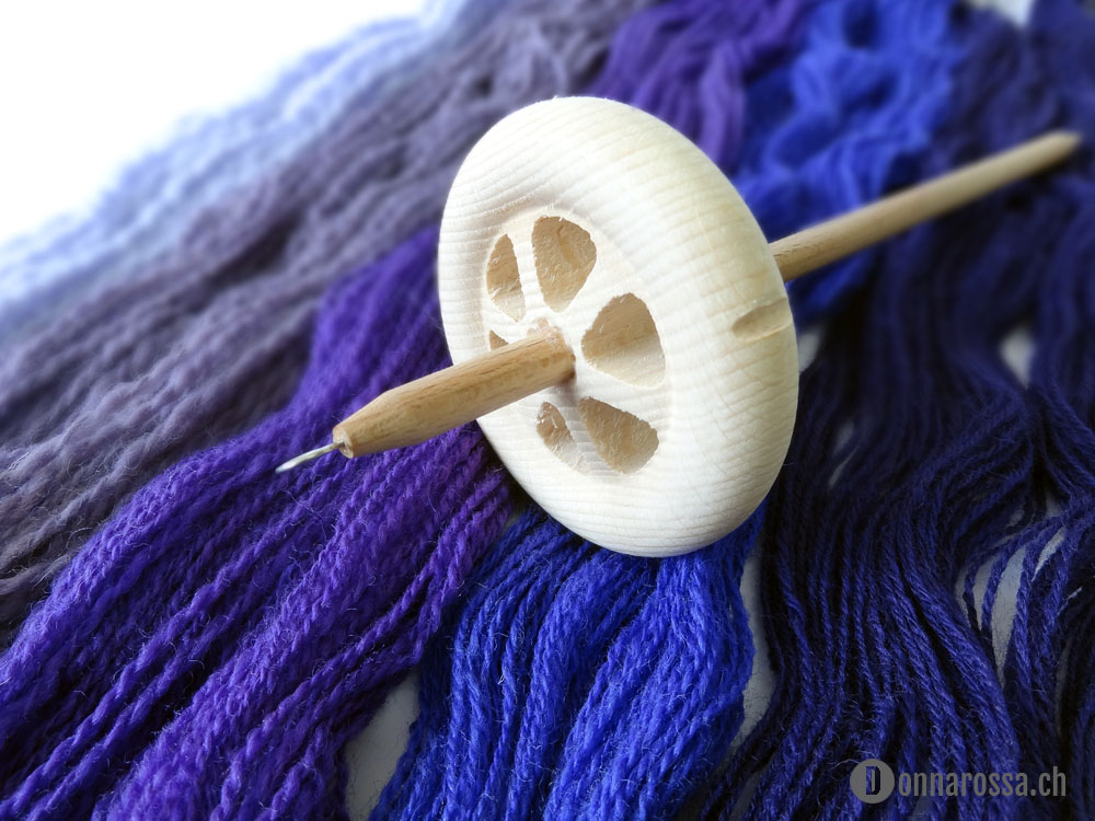 first spinning - spun yarn on a drop spindle