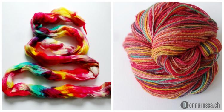 hedera socks - Party collage fiber yarn