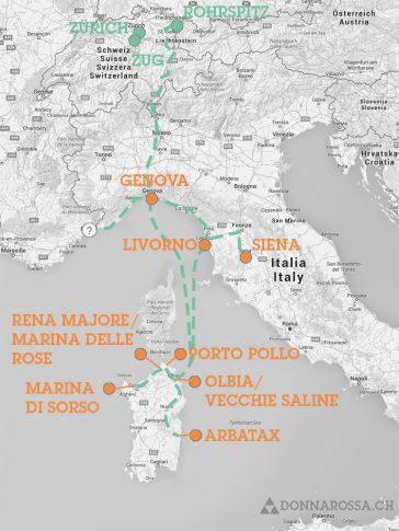map roadtrip - Sardinien