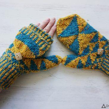 fractal mittens triangle aran knit mitts fingerless
