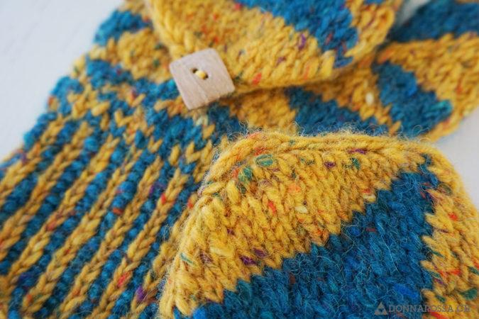 fractal mittens triangle aran knit button
