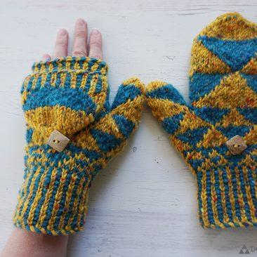 fractal mittens triangle aran knit