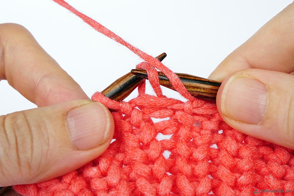 Halbpatent Patent linke Masche abheben mit Umschlag slip purl stitch yarn over tutorial donnarossa