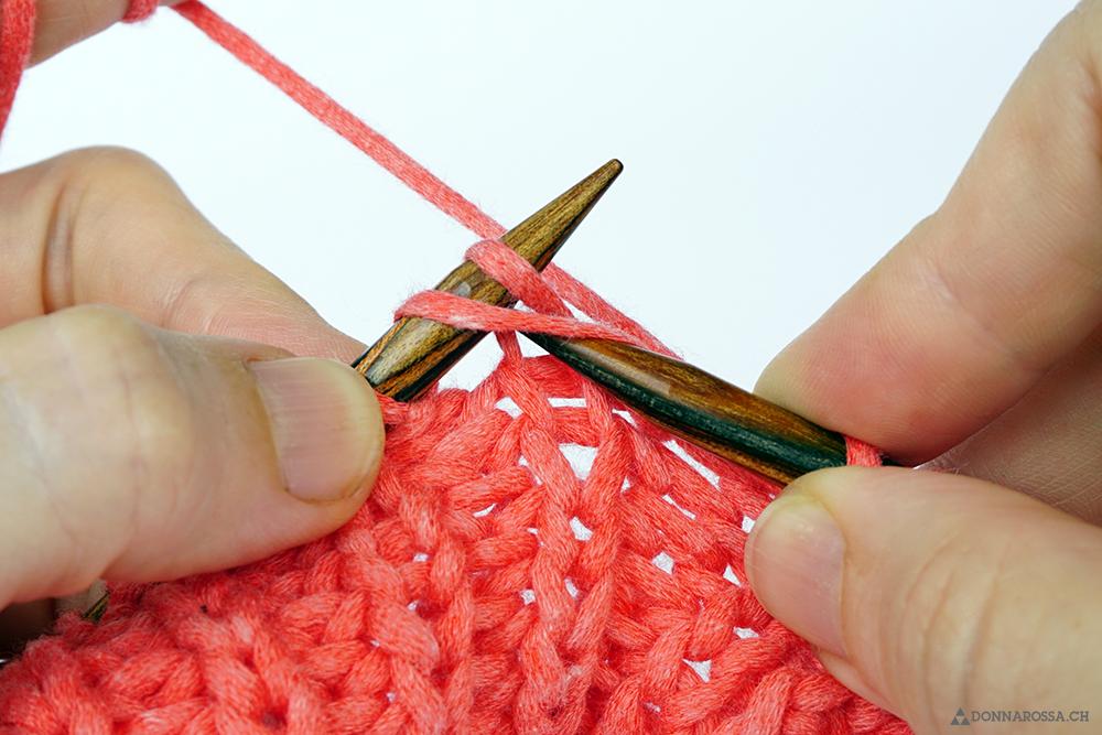 Halbpatent Patent rechte Masche mit Umschlag knit yarn over tutorial donnarossa