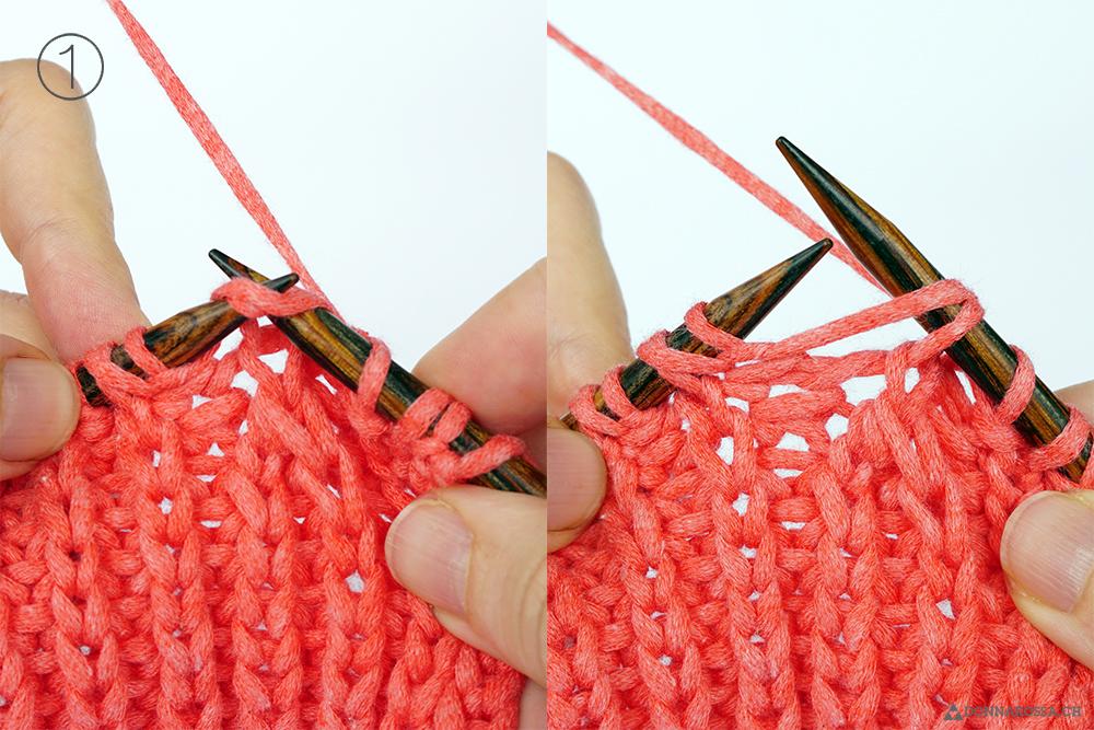 Halbpatent links gerichtete Abnahme mit Umschlag Schritt 1 fisherman rib decrease left yarn over tutorial