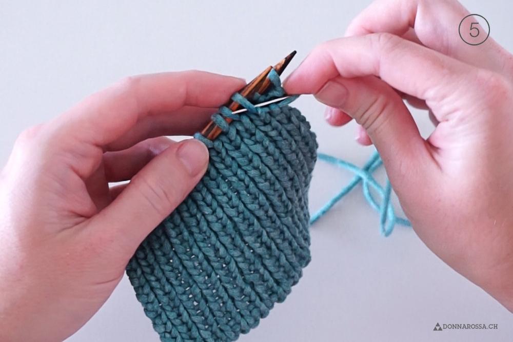 Tutorial tubular bind off italienisches abketten knit stricken schritt Maschenstich graft step 5