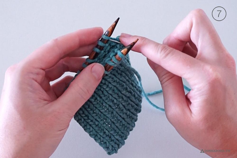 Tutorial tubular bind off italienisches abketten knit stricken schritt Maschenstich graft step 7