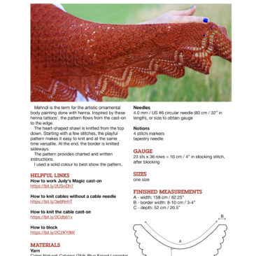 Mehndi cover page knitting pattern donnarossa